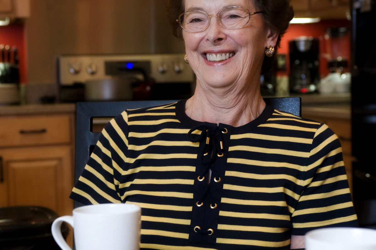 Senior woman enjoying coffee